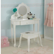 Queen Anne Style Kids Medium Size Vanity Includes Mirror and Stool - White