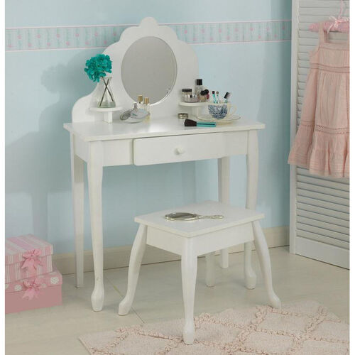 Our Queen Anne Style Kids Medium Size Vanity Includes Mirror and Stool - White is on sale now.