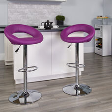Contemporary Purple Vinyl Rounded Orbit-Style Back Adjustable Height Barstool with Chrome Base
