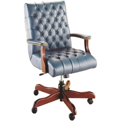 Quick Ship Scoop Traditional Executive Swivel Chair with Platform Arms