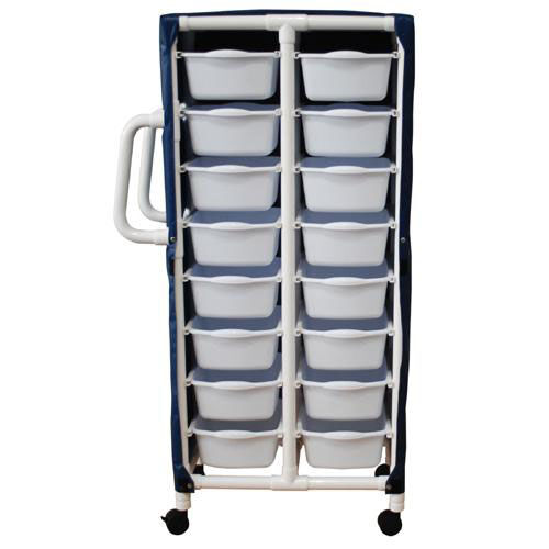 Our Specialty Cart with 16 Pull Out Tubs and Mesh Cover and Casters - 21.5