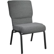 Advantage Black Marble Church Chair with Book Rack 20.5 in. Wide