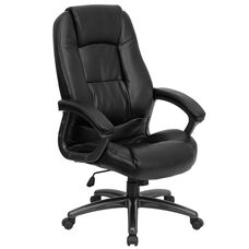 High Back Black LeatherSoft Executive Swivel Ergonomic Office Chair with Deep Curved Lumbar and Arms