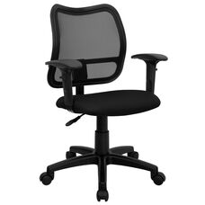 Mid-Back Black Mesh Swivel Task Office Chair with Adjustable Arms