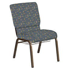 Embroidered 18.5''W Church Chair in Eclipse Sky Fabric with Book Rack - Gold Vein Frame