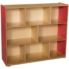 Wooden 8 Compartment Single Mobile Storage Unit - Strawberry - 48