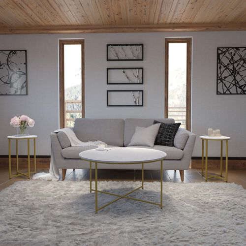 Hampstead Collection 3 Piece White Marble Finished Coffee and End Table Set with Matte Gold Frame