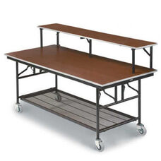 Mobile Bar/Buffet Table with Sealed Walnut Stain Plywood Top - 30