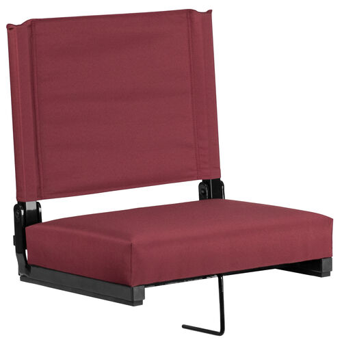 Our Grandstand Comfort Seats by Flash with Ultra-Padded Seat in Maroon is on sale now.