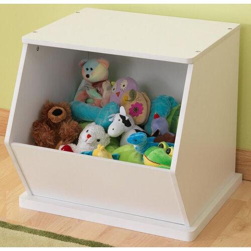 Kids Size Indoor Sturdy Open Single Storage Bin Cabinet - White