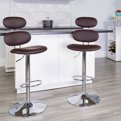 Our Contemporary Brown Vinyl Adjustable Height Barstool with Ellipse Back and Chrome Base is on sale now.