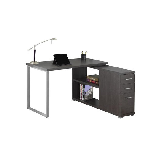 Left or Right Facing Home Office Desk with Storage - Gray