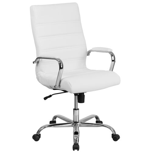 Our High Back White Leather Executive Swivel Office Chair with Chrome Base and Arms is on sale now.