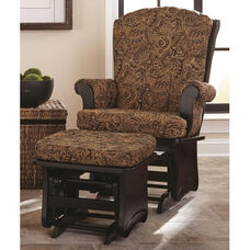 Sleigh Back Glider with Solid Sides and Arm Pads - Antique Black Finish
