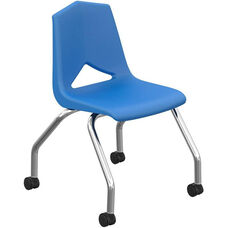 MG Series V-Back Steel Frame Caster Chair with 18''H Seat - Blue Seat and Chrome Frame - 22''W x 23''D x 31''H