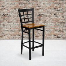 Black Window Back Metal Restaurant Barstool with Cherry Wood Seat