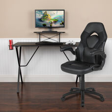 BlackArc Black Gaming Desk and Black Racing Chair Set with Cup Holder, Headphone Hook, and Monitor/Smartphone Stand