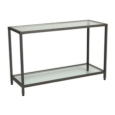 Camber Steel Frame Console Table with Clear Tempered Glass Shelves - Pewter