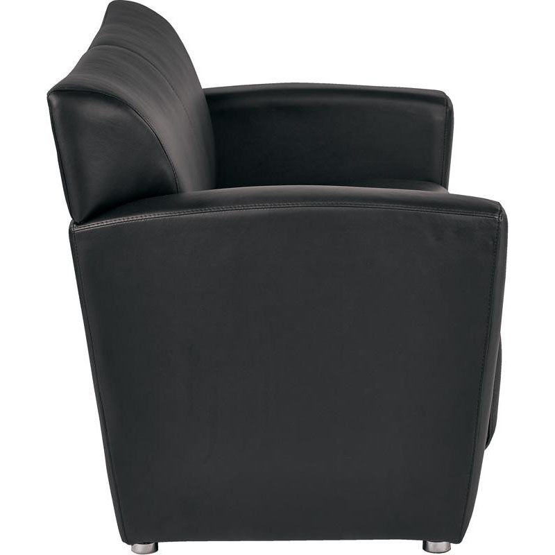 ... Our OSP Furniture Faux Leather Loveseat With Silver Finish Legs   Black  Is On Sale Now