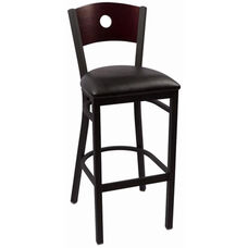 Circle Series Wood Back Armless Barstool with Steel Frame and Vinyl Seat - Mahogany