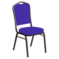 Embroidered Crown Back Banquet Chair in Interweave Lilac Fabric - Gold Vein Frame