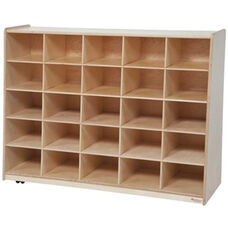 Tip-Me-Not Wooden Storage Unit with 25 Purple Plastic Trays - 48