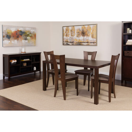 Our Ardley 5 Piece Espresso Wood Dining Table Set with Slotted Back Wood Dining Chairs - Padded Seats is on sale now.