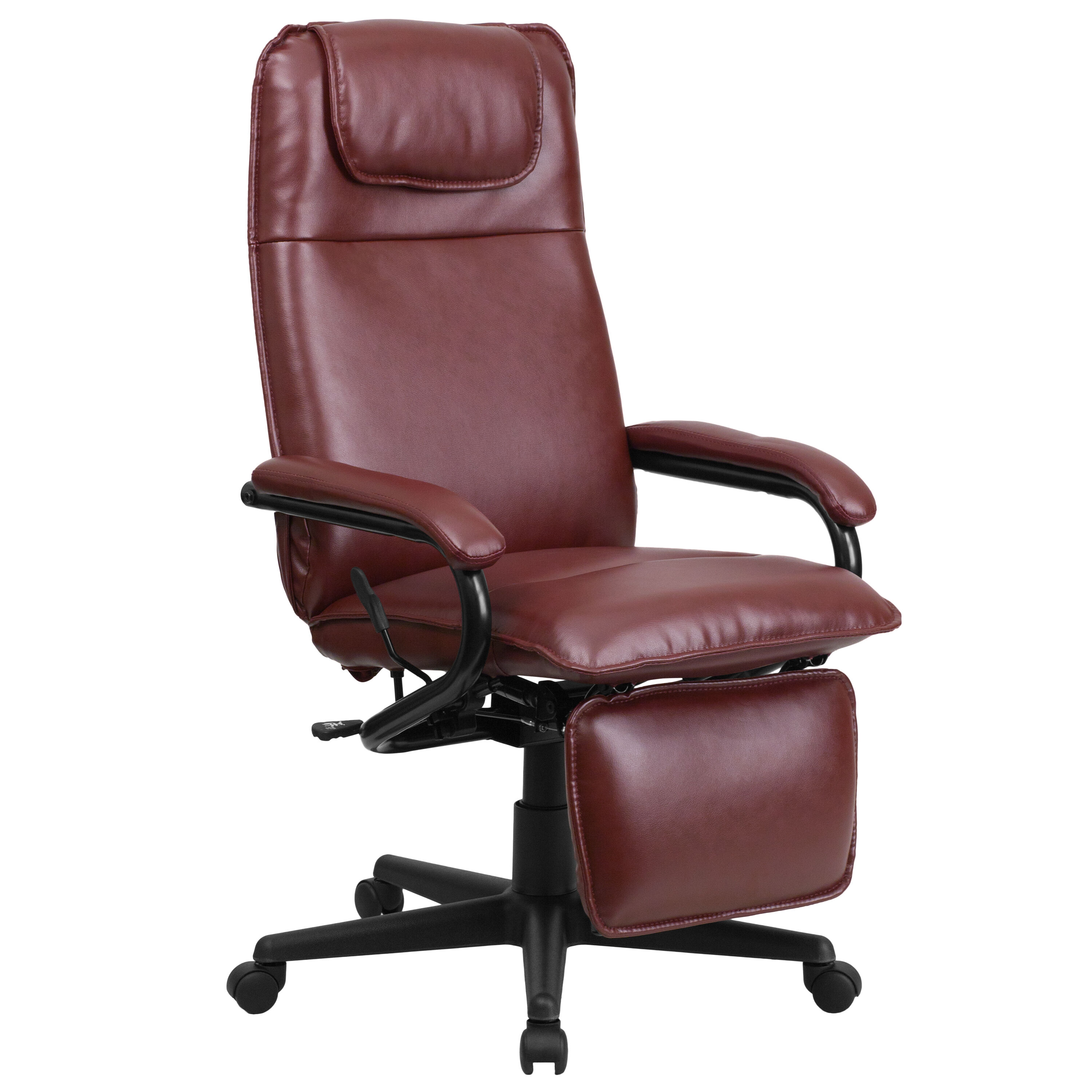 ... Our High Back Burgundy Leather Executive Reclining Swivel Chair With  Arms Is On Sale Now.