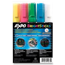 Sanford Brands Fluorescent Markers -Erasable -Pink/Blue/White/YellowithGreen