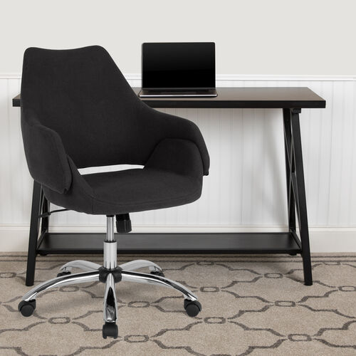 Our Madrid Home and Office Upholstered Mid-Back Chair in Black Fabric is on sale now.