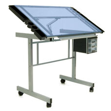 Vision Blue Tempered Glass and Steel Craft Center with Adjustable Angle Top - Silver
