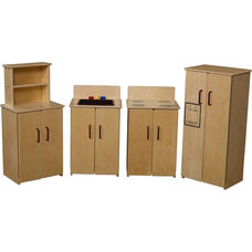 Contender Set of Four Wooden Kitchen Appliances with Brown Accents - Assembled - 64
