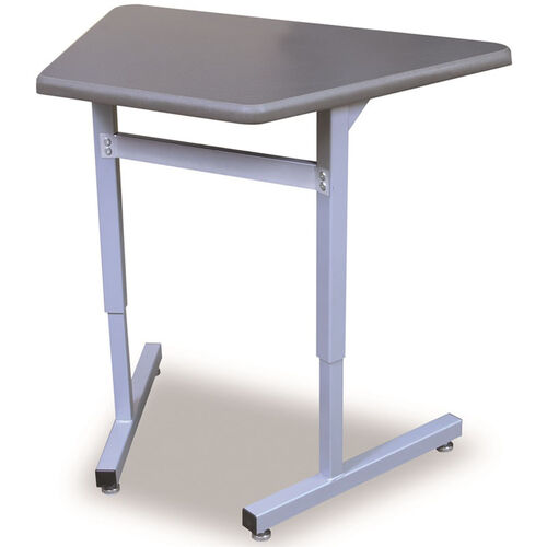 Our Une-T Trapezoid Adjustable Height Desk with Beveled Lotz Armor Edge Top - 32.25