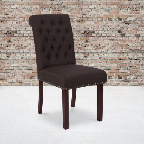 HERCULES Series Brown Fabric Parsons Chair with Rolled Back, Accent Nail Trim and Walnut Finish