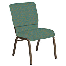 Embroidered 18.5''W Church Chair in Circuit Turquoise Fabric - Gold Vein Frame
