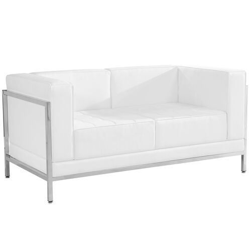 Our HERCULES Imagination Series Contemporary Melrose White Leather Loveseat with Encasing Frame is on sale now.