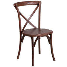 HERCULES Series Stackable Mahogany Wood Cross Back Chair