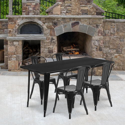 "Our Commercial Grade 31.5"" x 63"" Rectangular Metal Indoor-Outdoor Table Set with 4 Stack Chairs is on sale now."