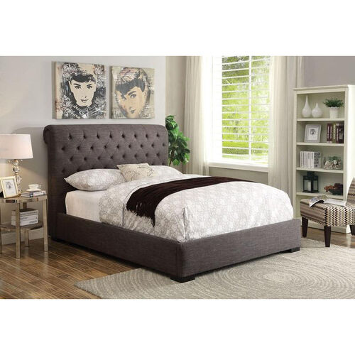 Westmist Button Tufted Linen Bed - Queen - Light Brown
