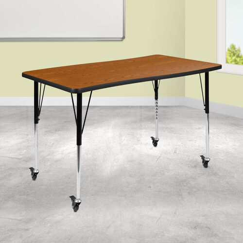 """Mobile 28""""W x 47.5""""L Rectangular Wave Collaborative Oak Thermal Laminate Activity Table - Standard Height Adjustable Legs"""