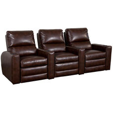 Manor Three Seater Home Theater - Straight Arm in Bonded Leather