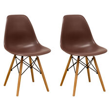 Paris Tower Side Chair with Wood Legs and Chocolate Seat - Set of 2