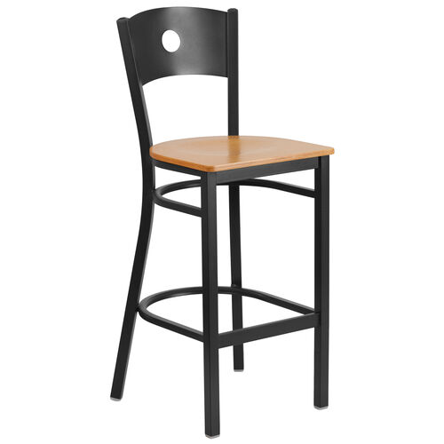 Our Black Circle Back Metal Restaurant Barstool with Natural Wood Seat is on sale now.
