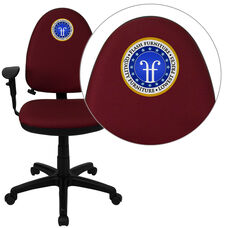 Embroidered Mid-Back Burgundy Fabric Multifunction Ergonomic Task Office Chair with Adjustable Lumbar & Arms
