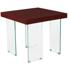 Forest Hills Collection Red Cherry Wood Grain Finish End Table with Glass Legs
