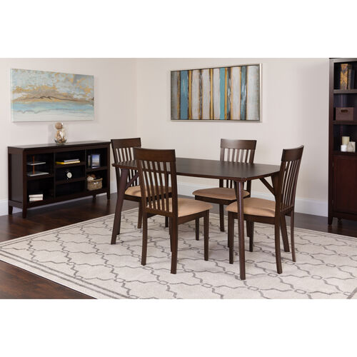 Our Bromley 5 Piece Espresso Wood Dining Table Set with Rail Back Wood Dining Chairs - Padded Seats is on sale now.