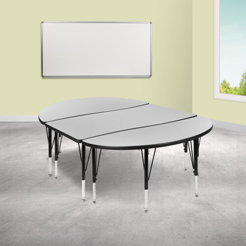 "Our 3 Piece 76"" Oval Wave Collaborative Grey Thermal Laminate Activity Table Set - Height Adjustable Short Legs is on sale now."