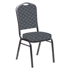 Crown Back Banquet Chair in Cirque Lapis Fabric - Silver Vein Frame