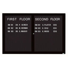 2 Door Indoor Illuminated Enclosed Directory Board with Black Anodized Aluminum Frame - 48