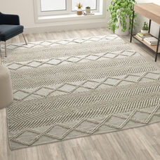 8' x 10' White & Ivory Geometric Design Handwoven Area Rug - Wool/Polyester/CottonBlend